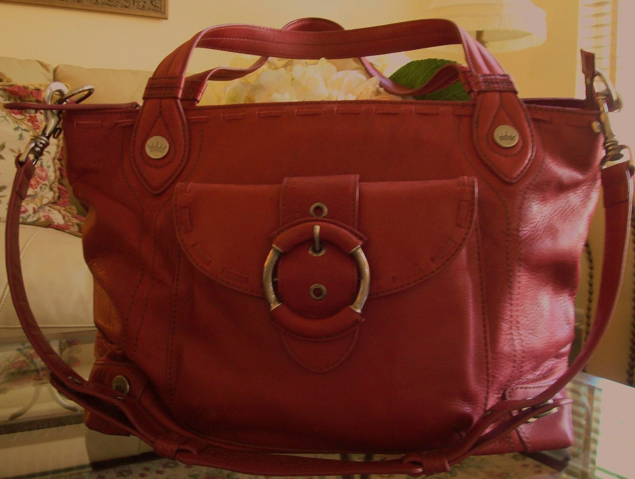 Primary image for Elaine Turner Large Tote Bag Red NWOT $500 Retail