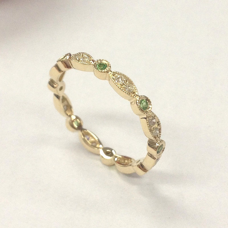 Image of Green Alexandrite Diamond Wedding Band!Eternity Anniversary Ring,14K Yellow Gold