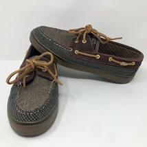 VTG Sperry Top Sider Womens Herringbone Plaid Slip On Boat Shoes Sz 9 M Casual - $54.69