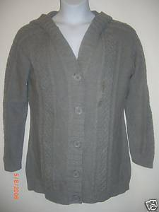 NWT Womens GAP Cableknit Gray Hoodie Sweater Sz XL GAP