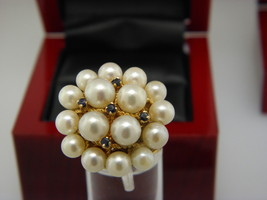 CULTURED FRESH WATER PEARL & SAPPHIRE  CLUSTER RING IN 14K YELLOW GOLD. ... - £435.84 GBP