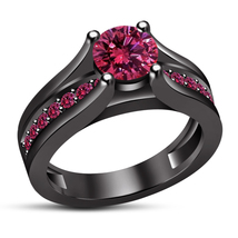 925 Sterling Silver Brilliant Cut Pink Sapphire Solitaire With Accents R... - ₹6,268.73 INR