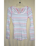 OP Striped Long Sleeve Lightweight Cotton Henley   SZ Juniors S (3/5)   NWT - $5.99