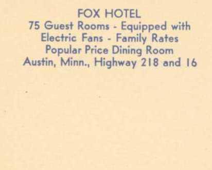 Fox Hotel Austin MN. Postcard No Postage Stamp Linen Vintage