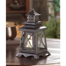 #10015412 *Watch Tower Clear Glass Black Metal Candle Lantern* - $23.34