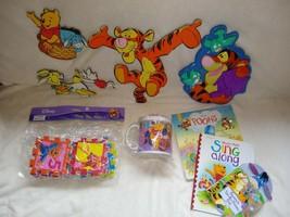 Big lot Of Winnie The Pooh Books, Puzzles, Room Decorations, Etc - $7.50