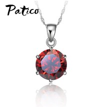 Cheapest!!!925 Sterling Silver Necklace Women Wedding Jewelry 6 Claw Cubic Zirco - $9.82