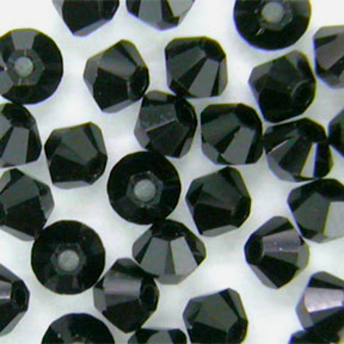 4mm Jet Swarovski Crystal Xilion Beads 5328 ( 72 ), Opaque Black bicone