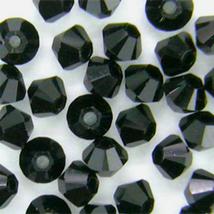 4mm Jet Swarovski Crystal Xilion Beads 5328 ( 72 ), Opaque Black bicone - $7.00