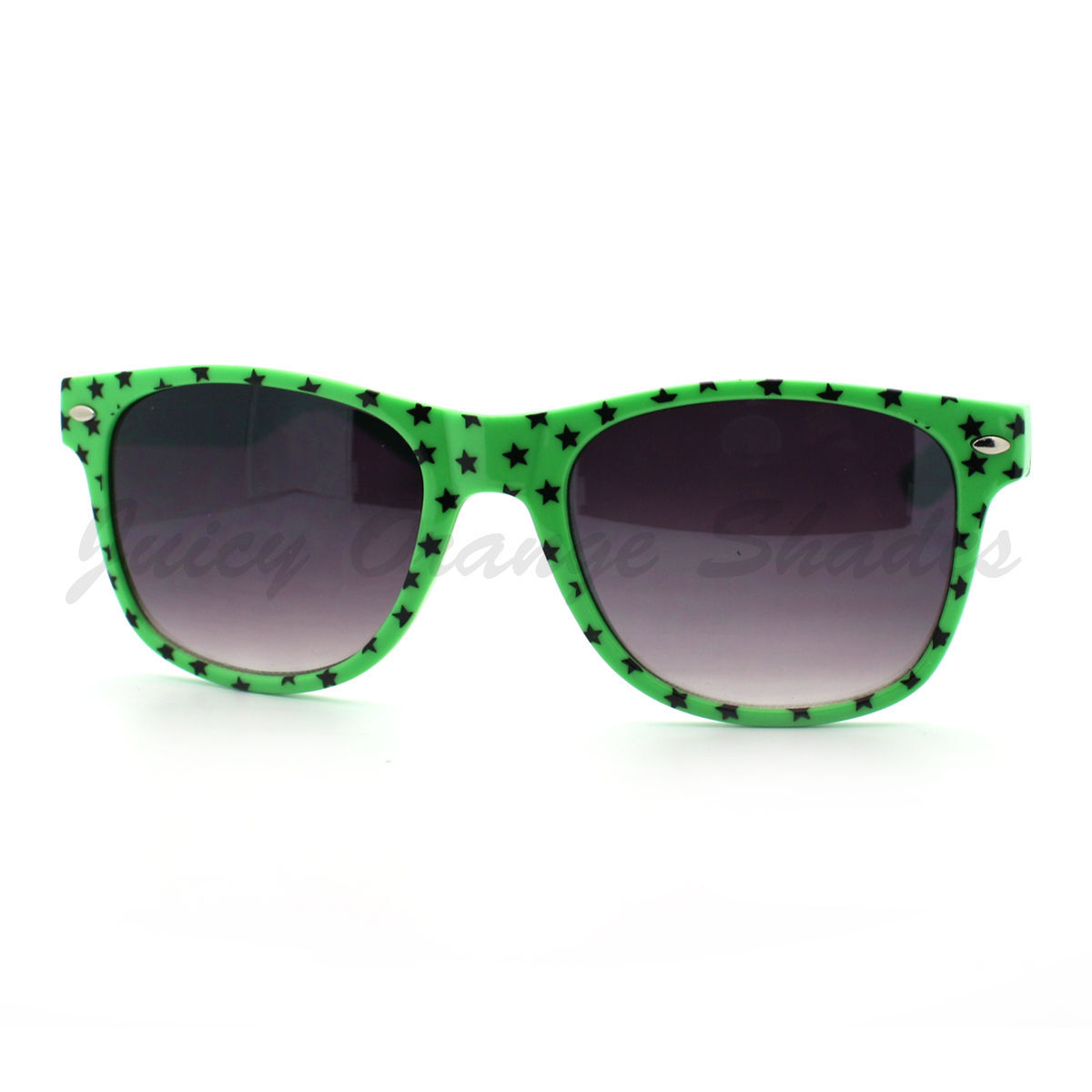 Stars Print Sunglasses Classic Square Horn Rimmed Frame (Spring Hinge)