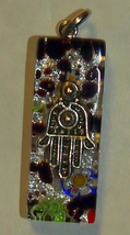 Murano Glass Hamsa Amulet Good Luck Charm Judaica Pendant Italy Multicolor - $9.99