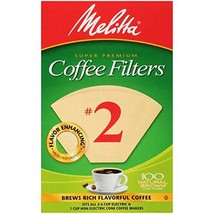 Melitta Cone Coffee Filters, Natural Brown, No. 2, 100-Count Filters Pack of 6