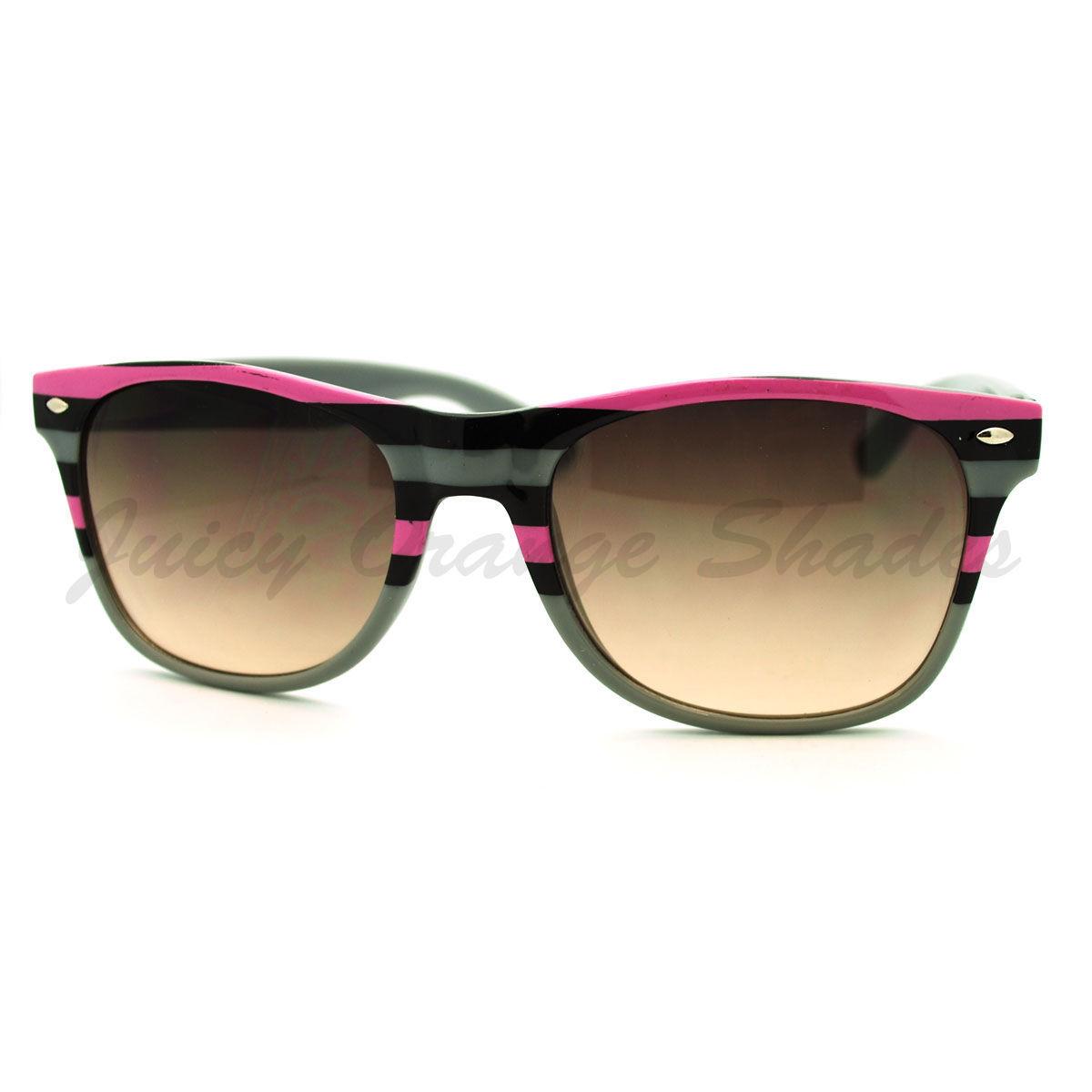 Stripe Print Sunglasses Classic Square Horn Rim Frame Unisex
