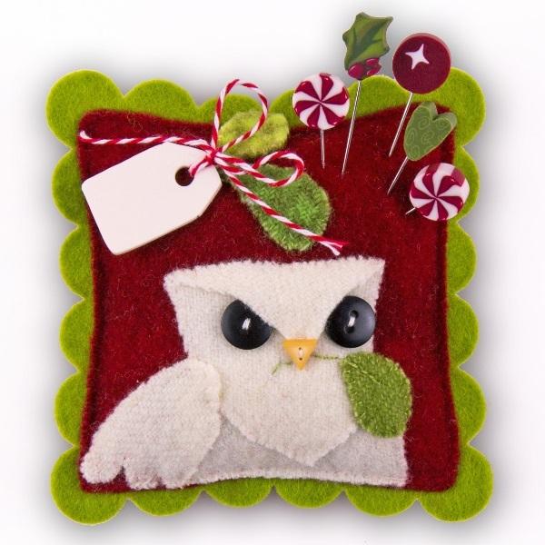 Mistletoe Holiday JP158 Peppermint Owl set 5 for pincushions JABC Just Ano