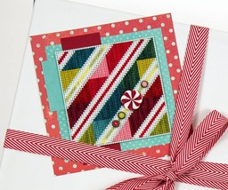 Peppermint Stripes ATH1026 button pack + Art To Heart cross stitch JABC - $14.95