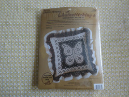 Paragon LACE BUTTERFLY Chainstitching Needlecraft PILLOW KIT #8381 - Sealed - $11.88