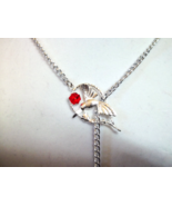 Red and silver Hummingbird Lariat necklace - $20.00