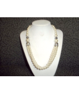 Brides Pearl necklace with rhinestone rings - $20.00