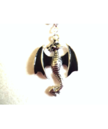 Silver Dragon with black wings Necklace - $15.00