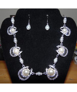 Pearl and Silver Wedding Necklace Set - $35.00