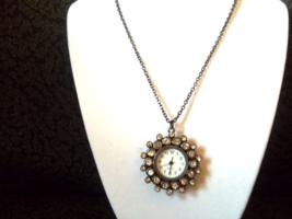 Ladies Black and rhinestone Watch pendant - $20.00