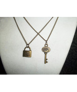 Couples Antique Bronze Lock and Key necklace set - $20.00