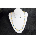 Gold Rose and Green beaded Necklace and earrings set - $25.00
