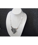 Silver Bib Style Statement necklace - $20.00