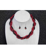 Red and Black triple strand twisted necklace set - $30.00