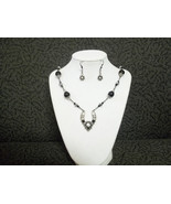 Victorian Black and Silver beaded necklace with matching earrings - $25.00
