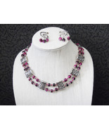 Pink and silver statement jewelry set - $30.00