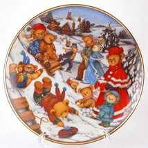 Franklin Mint Teddy Bear Winter Frolic Limited Edition Heirloom Plate O2601 - $10.00