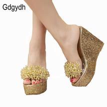 Sexy Gdgydh Summer Rhinestone Slides Trifle Casual Bea Sandals 2018 Wedges Women pfFnpA