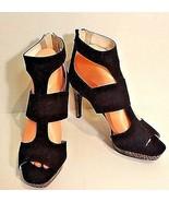 Studio Paolo Women 8.5 Black Zip Ankle Closure Strap Snake Skin Stiletto... - $24.74