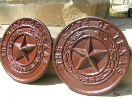 TWO Texas STATE STAR Cast Iron Rust Seals plaque s bz - $89.98
