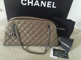 Auth NWT Chanel Mademoiselle Caviar Silver Chain Shoulder Bag Tote - $2,550.00