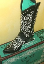 Gorgeous New! Lane WIllow boot Black with white embroidery and CRYSTALS!! - $355.00