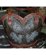 Gorgeous!American West Leather #8525560 Boot Purse Deniml/Black Brown Br... - $228.00