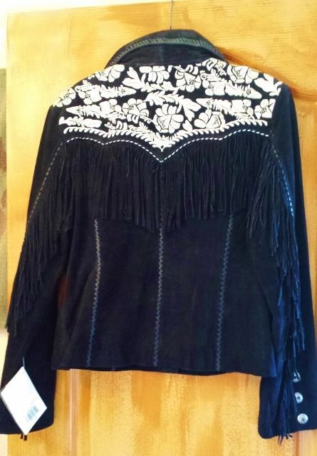 Primary image for Beautiful Scully Leather coat  Black w fringe embroidery & buckstitching. NEW!!