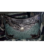 Gorgeous! Handmade American West Leather #9778876 Handbag Teal/Black Brown - $188.00