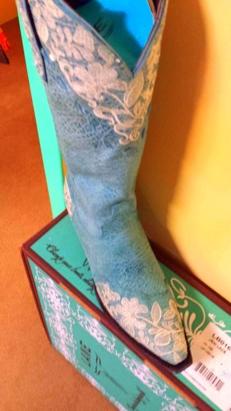 Primary image for Gorgeous! Lane Boot Jeni Lace Cowgirl Fashion Turquoise Lace Embroidery Wedding