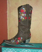 Gorgeous! Lane Boot Allie Cowgirl Fashion Leather Multi  Floral Embroidery - $269.00