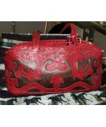 Leaders In Leather -cut tooled-handmade soft leather handbag bronze/red ... - $188.00