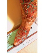 Fabulous! Lane Boot Bliss Cowgirl Fashion  Rich Brown Studded Embroidery... - $369.00
