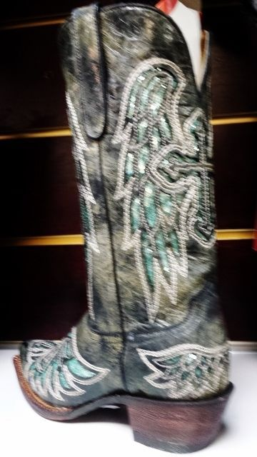 Primary image for Awesome!Ferrini Cowgirl, Rocker Boot -, Lasar Angel, Black Turquoise Bling