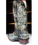 Awesome!Ferrini Cowgirl, Rocker Boot -, Lasar Angel, Black Turquoise Bling - $299.00