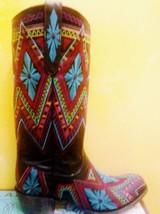 Beautiful New Lane Sunshine Boot Gorgeous Western style embroidery round toe - $399.00