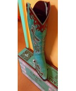 Stunning! Lane Boot AMBER -Cowgirl  Tall top Zippered Turquoise/brown trim - $399.00