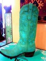 Lane Turquoise Embroidered Cowgirl Boot Leather Handmade Mexico - $350.00