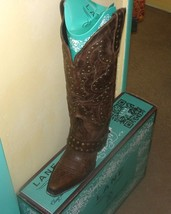 Gorgeous! Lane Boot Stud Rocker Fashion  Cowgirl Brown Studded seen in magazines - $379.00